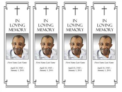 Funeral Program Templates Download Free Premium Templates Forms Sles For Jpeg Png In Loving Memory Bookmark Template Free