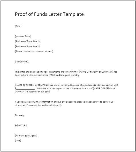 sle proof of funds letter template proof of funds document frombank choice image