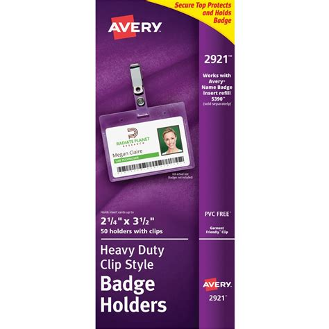 avery id card template avery landscape badge holder with clip ld products