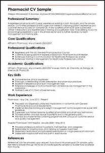 pharmacist cv sle myperfectcv