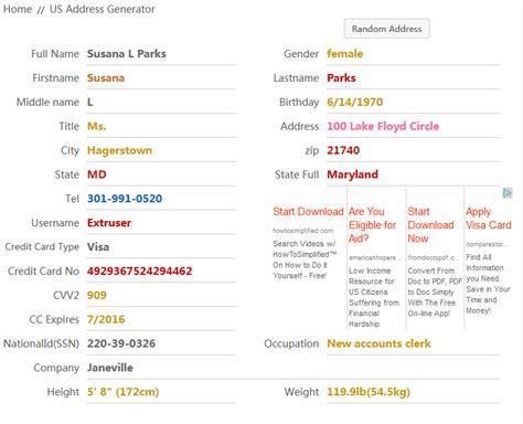 fake address generator    world home