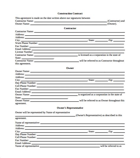contract template pdf construction contract 13 documents in pdf