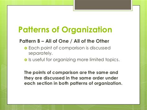 what pattern of organization does this paragraph follow comparison contrast essay