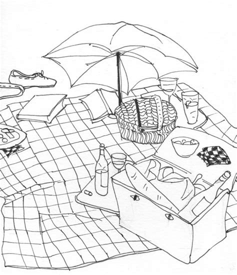 picnic coloring page coloring home