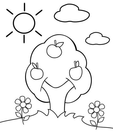 preschool coloring page apple tree preschool coloring