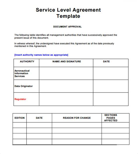 sla template service level agreement outsourcing template sle