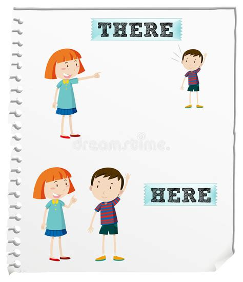 Sketches Here And There Summary by Opposite Words Here And There Stock Vector Illustration