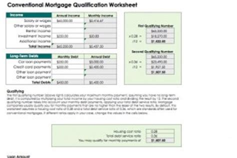 Mortgage Calculators Mortgage Payment Calculators Mortgage Qualification Worksheet Template Excel