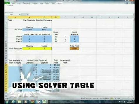 how to use microsoft excel s solver table add in