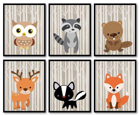 Woodland Animals Woodland Nursery Art Print Mix Match Owl Woodland Creatures Nursery Decor