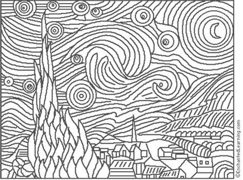 coloring page starry night 301 moved permanently