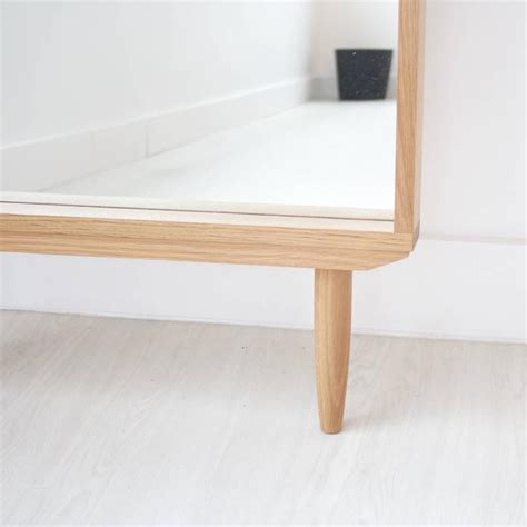 solid white oak leaning modern floor mirror for sale at