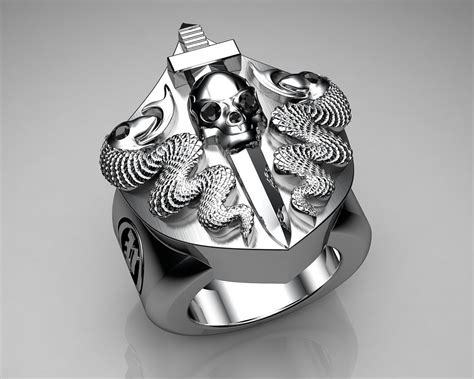 Unique Mens Ring Snake And Skull Shield Ring Sterling Silv