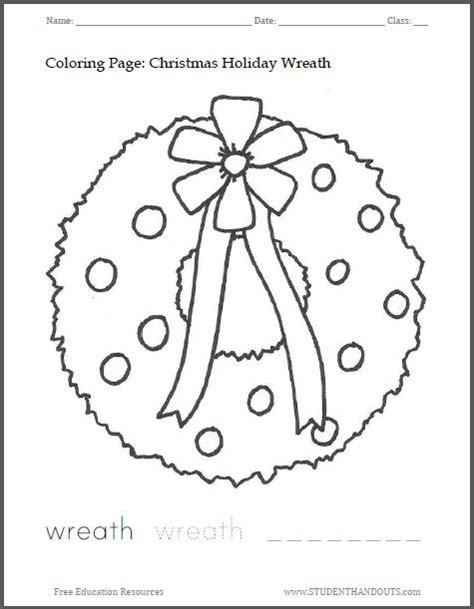 Christmas Wreath Coloring Page Student Handouts Wreath Coloring Page Shapes Worksheet