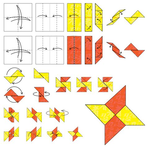 How To Make A Shuriken Out Of Paper - animated origami how to make origami
