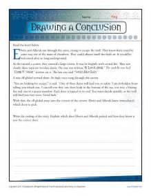 drawing a conclusion worksheets 5th grade and middle