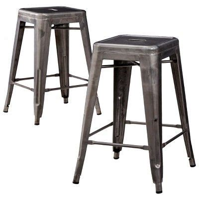 carlisle metal counter stool set of 2 copper