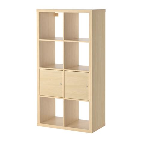 Ikea Shelf Storage Kallax Shelving Unit With Doors Birch Effect 30 3 8x57