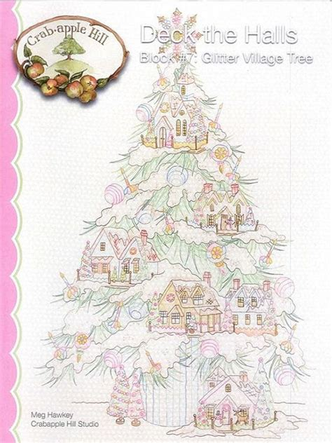christmas tree hand embroidery pattern crabapple hill studio glitter village tree 2542 hand