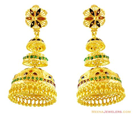 gold jhumka pattern exquisite meenakari jhumki earrings erfc14251 22kt