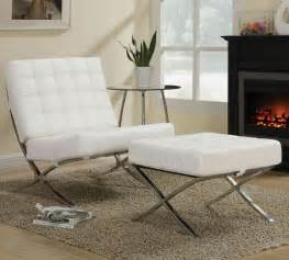 Contemporary Chairs For Living Room Furniture Contemporary White Leather Chair Amp Ottoman With