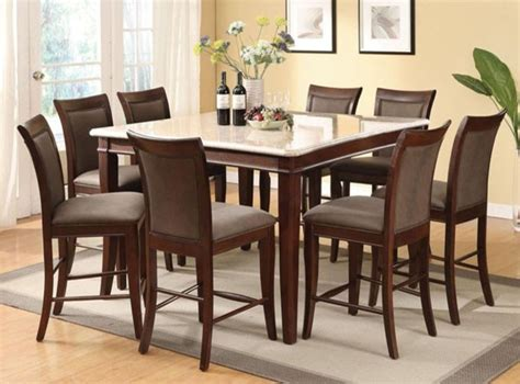 White Marble Top Dining Table Set Acme Furniture 9 White Marble Top Counter Height Table Set 700 Traditional
