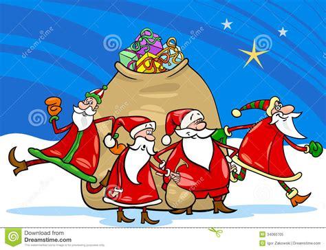 santa claus  presents cartoon royalty  stock photo image