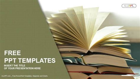 template for powerpoint book composition with vintage old hardback books powerpoint