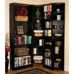 Corner Bookcase Ideas Corner High Black Wooden Bookcase With Many Shelves Placed On The Brown Wooden Flooring Of