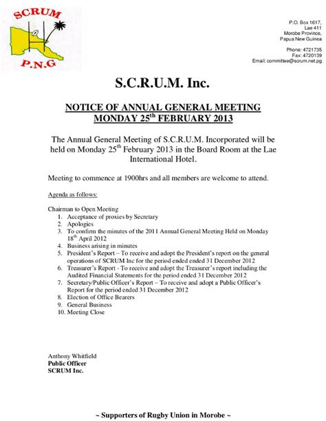 agenda for agm template scrum inc 2013 agm notice agenda scrum papua new guinea
