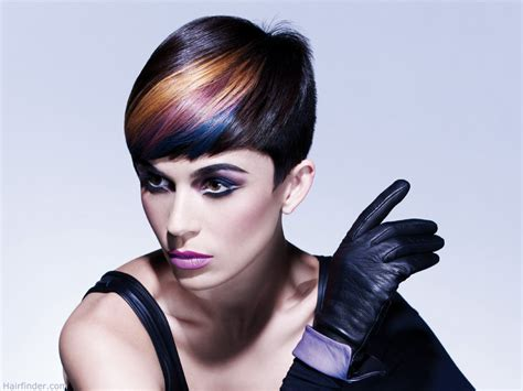 short hairstyles color streaks short haircut with angled hair color streaks