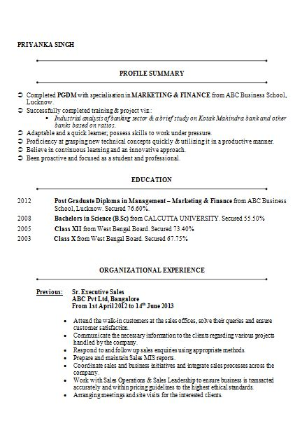 resume format for freshers in banking sector 10000 cv and resume sles with free mba marketing finance resume sle doc