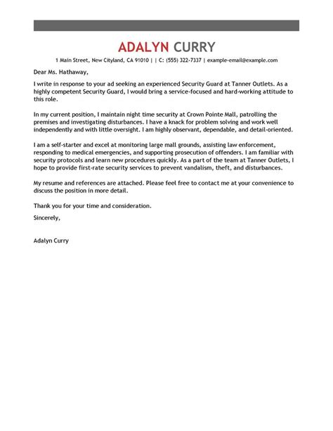 security guard cover letter exle leading professional security guard cover letter exles