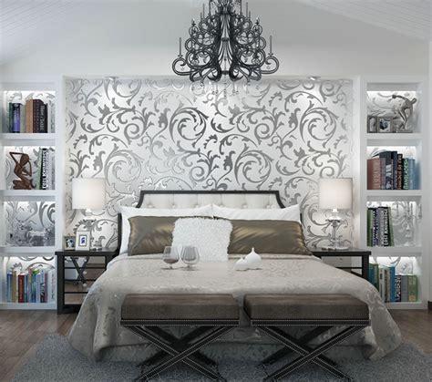 silver grey wallpaper ebay victorian luxury 3d damask non woven wallpaper roll home
