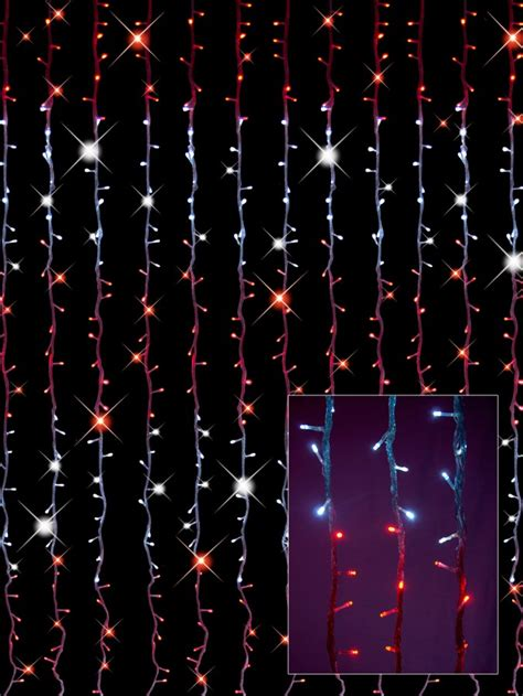 synchronised red white led curtain light display 3 2m