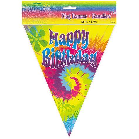 12 tie dye swirl flag birthday banner walmart