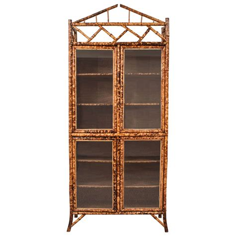 armoire bookcase 19th century english bamboo leather and glass armoire or