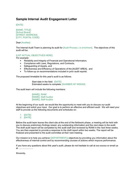 audit engagement letter template letter template 2017