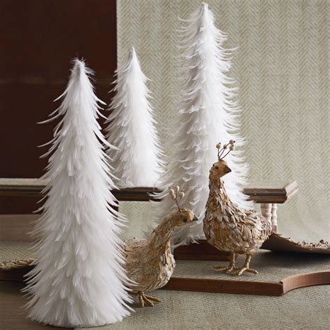 beautiful white feather christmas trees set of 3 nova68 com