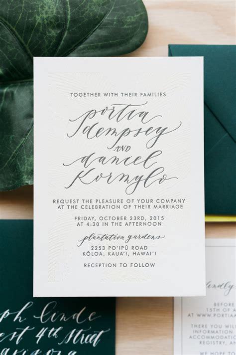 wedding invitations calligraphy tropical hawaiian calligraphy wedding invitations