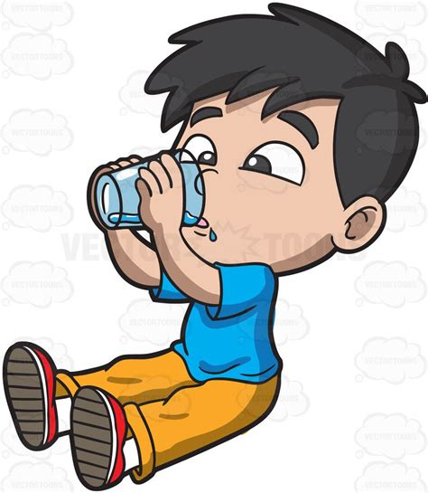 cartoon drinking a thirsty young boy drinking water cartoon clipart