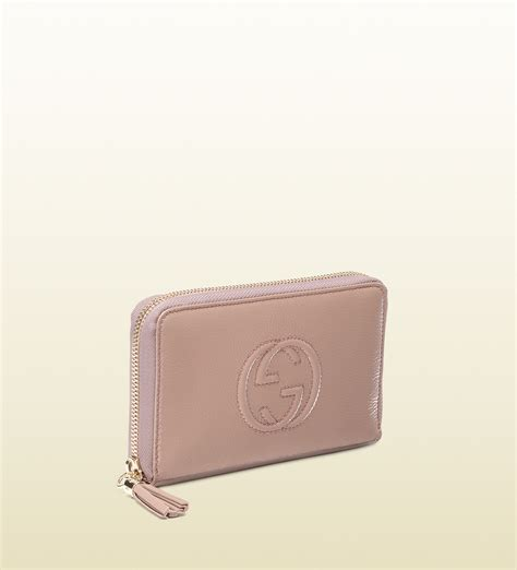 Pink Wallet lyst gucci soho pale pink soft patent leather medium zip around wallet in pink