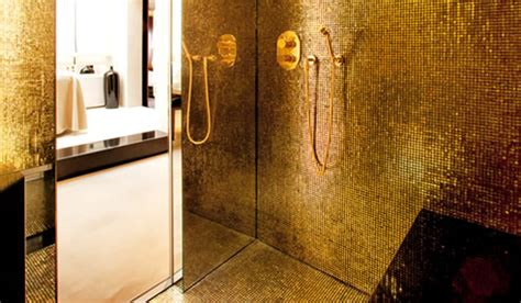 Bath Shower Chair gold mosaic tiles trend group