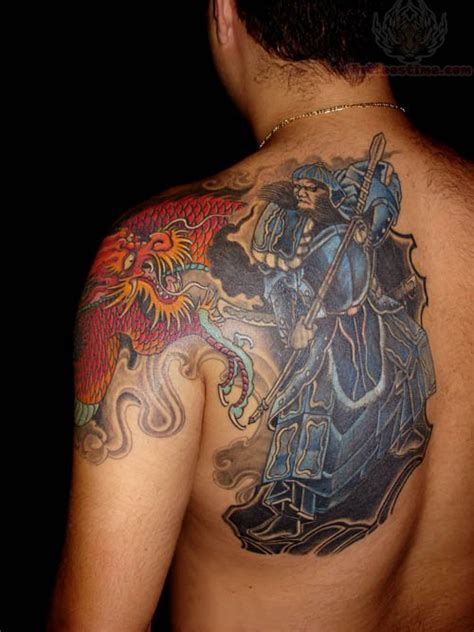 back shoulder tattoos for men samurai on back shoulder