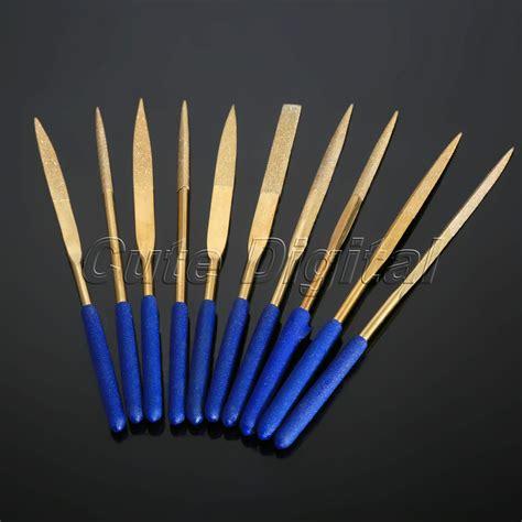 Murah Kikir Set 4 X 160 Mm 10pc 4x160mm titanium coated needle file set filing cutting glass ceramic rock carbide