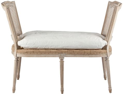 caning bench ethan french casual country bleached white wash caned