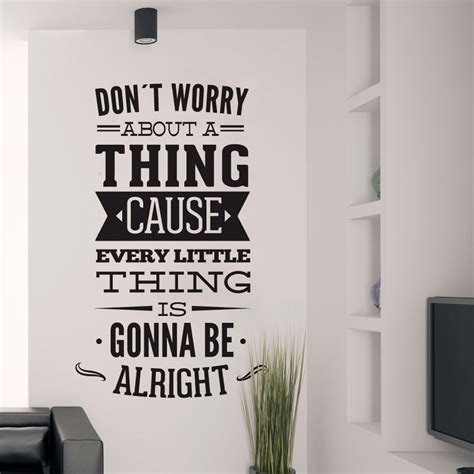 wall sticker lyrics wall decal quotes dont worry about a thing bob marley