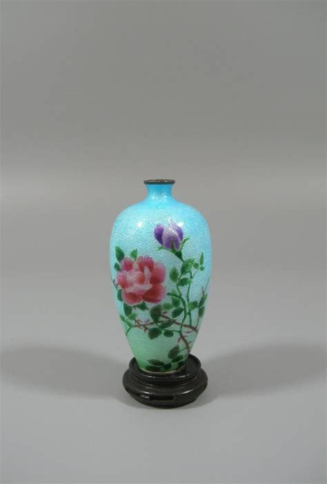 small japanese enameled silver flower vase
