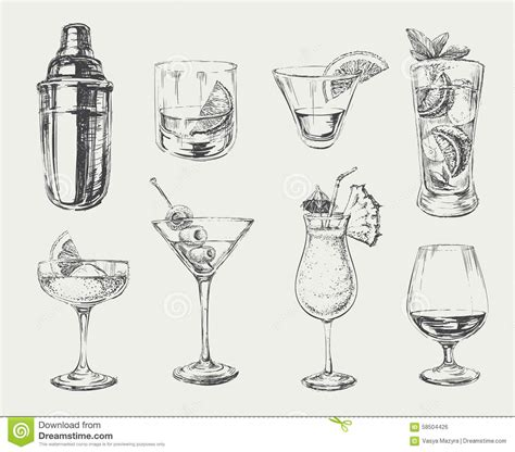 martini shaker drawing set of sketch cocktails and drinks stock vector