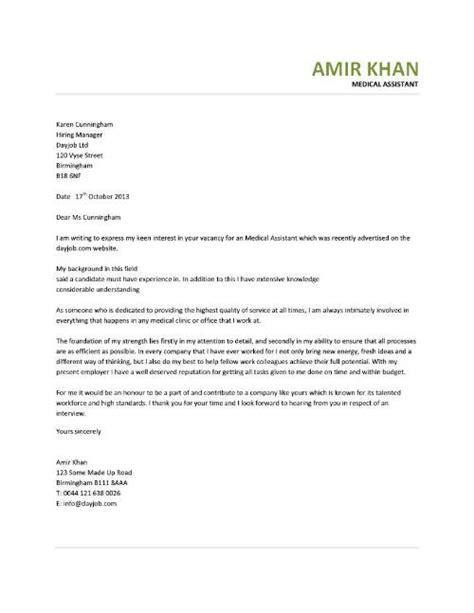 Cover Letter for Medical Assistant Sample   Sample Cover